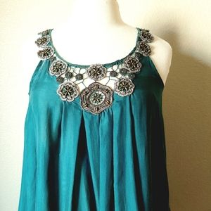 Rebecca Taylor Teal Silk Top w/Flower Embroidery